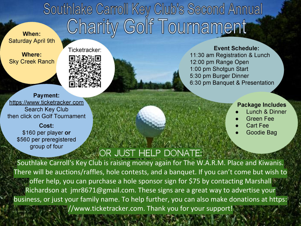 SOUTHLAKE KEY CLUB 2ND ANNUAL GOLF TOURNAMENT IS APRIL 9TH AT SKY CREEK RANCH