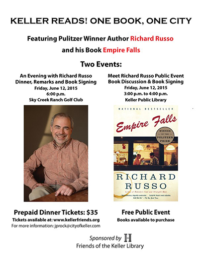Pulitzer Winner and Author of Empire Falls to Have Book Signing in Keller