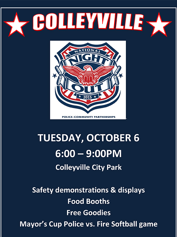 Colleyville's citywide National Night Out event to be held Tuesday, October 6 at Colleyville City Park.