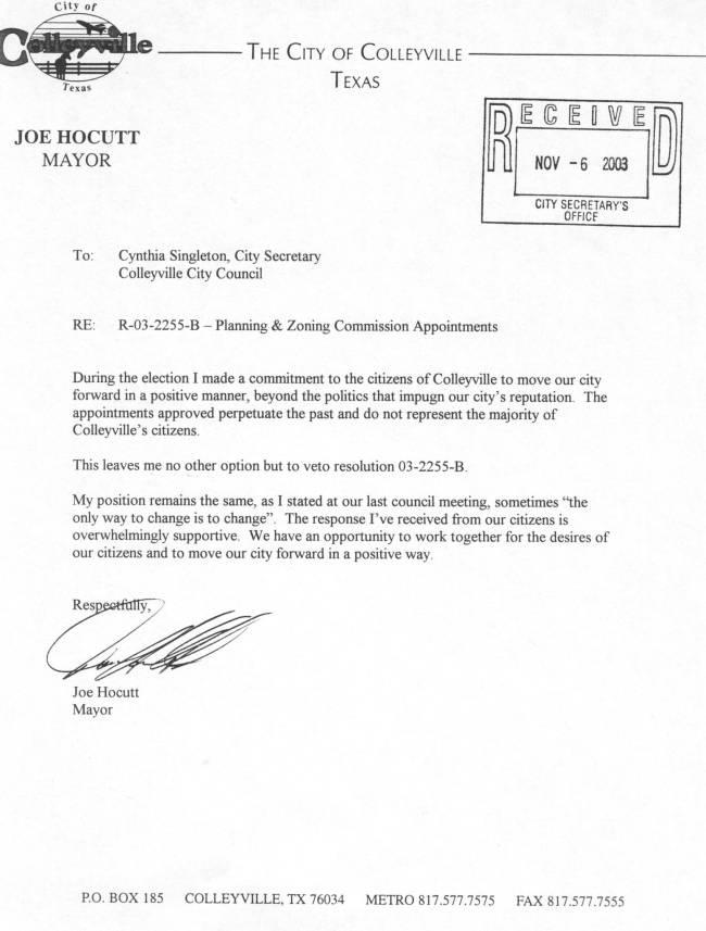 Hoecutt Veto Letter