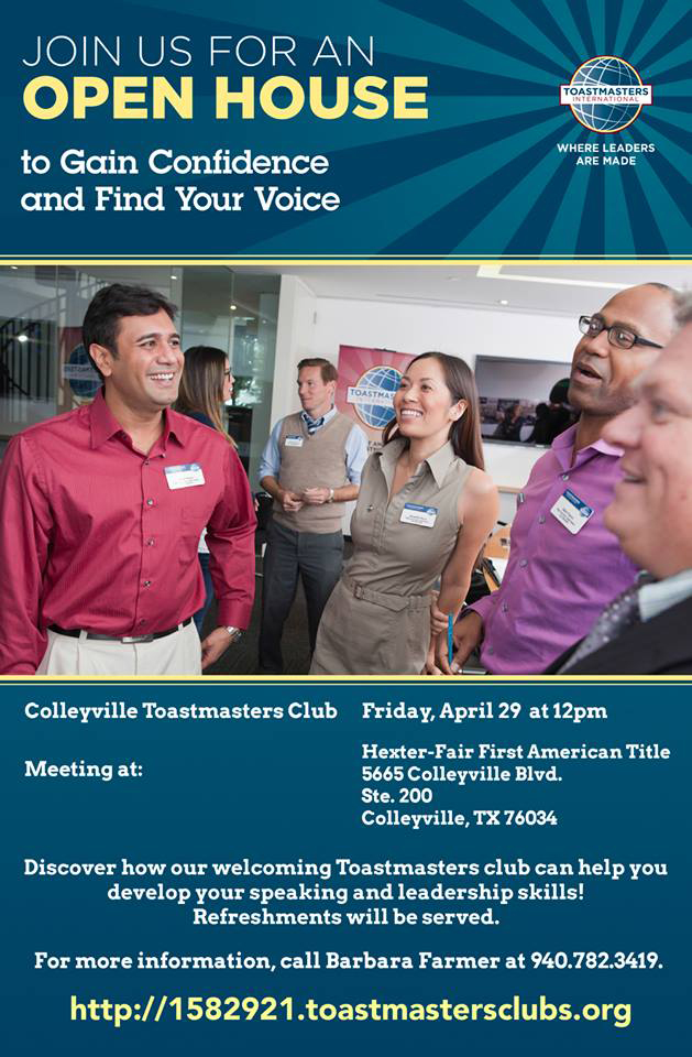 Toastmasters to meet in Colleyville, April 29th