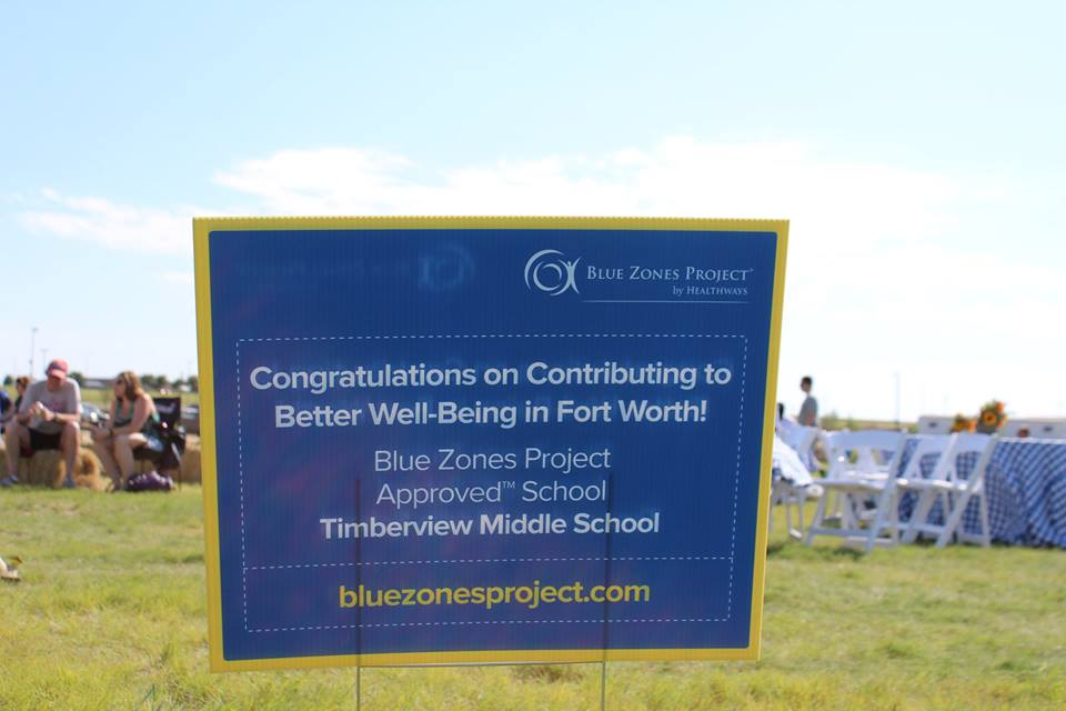 Timberview MS Blue Zones Project Approved school - sign