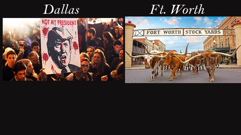 Two Different Events...one in Dallas and one in Ft. Worth, on the Same Day ...Sums up the Difference between the two cities!