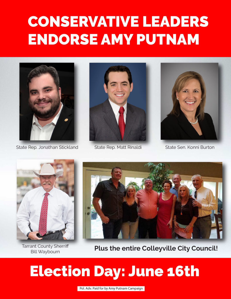 Conservative Community Leaders Support Amy Putnam for GCISD Trustee -Election Day Saturday June 16!